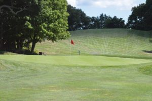 The view approaching the third green at Hop Brook Golf Course in Naugatuck. –KEN MORSE