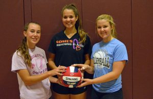 Naugatuck volleyball captains and seniors, from left, Kelly Murphy, Olivia Rotatori and Emma Healy will lead the Greyhounds on the court this season. –KEN MORSE