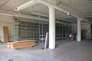 A vacant room on the first floor of the former General DataComm building on Rubber Avenue in Naugatuck is now primarily used for storage. –LUKE MARSHALL