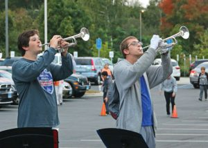 Naugatuck High School marching band members Connor Reese, left, and Raymond Mercure practice Tuesday at the school for the Thunder in the Valley, a marching band competition. The competition is Saturday at the school. –LUKE MARSHALL