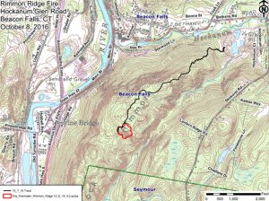 This map shows the perimeter of a fire line dug in woods off of Hockanum Glen Road in Beacon Falls to prevent a brush fire from spreading. –CONTRIBUTED