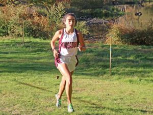 Naugatuck's Lauren Stankiewicz makes her way on the course during a meet versus Watertown, Torrington and Waterbury Career on Tuesday at Hop Brook Park in Middlebury. –LUKE MARSHALL