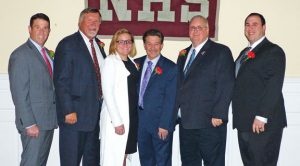 The Naugatuck Hall of Fame held its 45th induction ceremony Oct. 15 at the Continental Room in Naugatuck. Pictured, from left, are the 2016 inductees: Chris Martin, Bill Hicock, Alison Rossi, Fred Scheithe, Scott Robinson and Henry Lee. -REPUBLICAN-AMERICAN