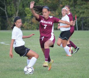 Naugatuck senior co-captain Alyana Sosa (7) and the Greyhounds are looking to make a push as several key players return from injuries. –FILE PHOTO