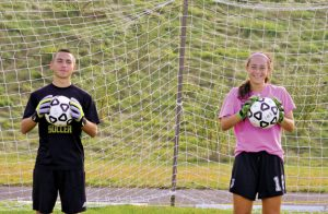 Woodland boys soccer goalie A.J. Oliveira, left, and girls goalie Jenna Pannone have mastered their craft in the net. –KEN MORSE