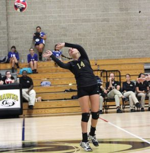 Woodland's Maddie Hupprich hits the ball over the net versus St. Paul Sept. 29 in Beacon Falls. Woodland won, 3-0. –ELIO GUGLIOTTI