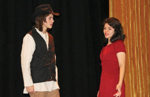 Woodland Regional High School seniors Jon DiPiro, left, and Laura Vitzoski rehearse a scene from the drama club's upcoming production of 'The Crucible' last week at the school in Beacon Falls. The play opens Friday at 7 p.m. –LUKE MARSHALL