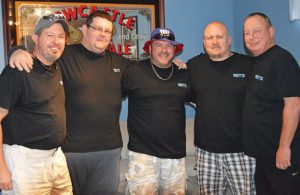 From left, Chris Main, Steve Rager, Pat Granahan, Rob Rager and Dave Walsh are pictured following a recent broadcast of the internet radio show, 3 Guys Talking Sports. –KEN MORSE